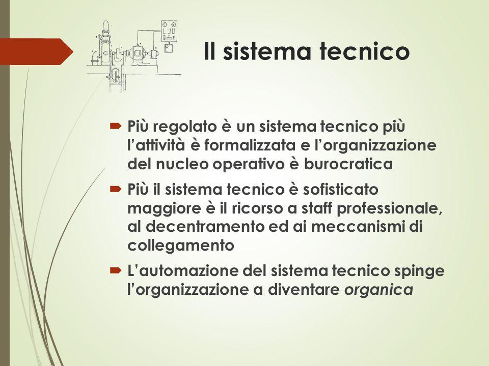 Il sistema tecnico  Più regolato è un sistema tecnico più l'attività è formalizzata e l'organizzazione del nucleo operativo è burocratica  Più il si