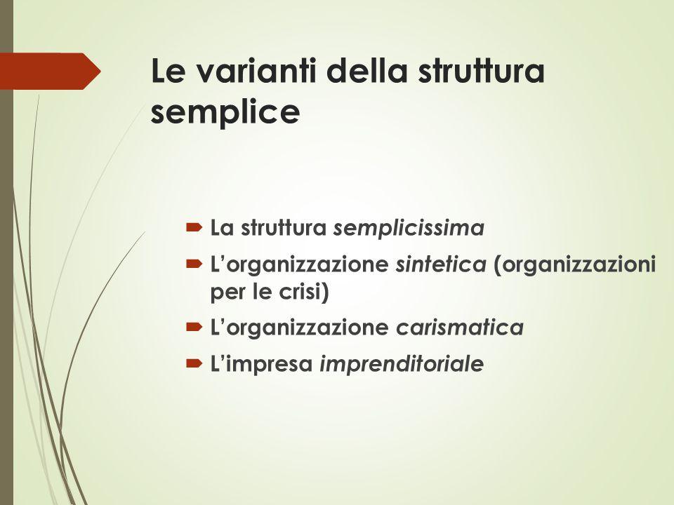 Le varianti della struttura semplice  La struttura semplicissima  L'organizzazione sintetica (organizzazioni per le crisi)  L'organizzazione carism