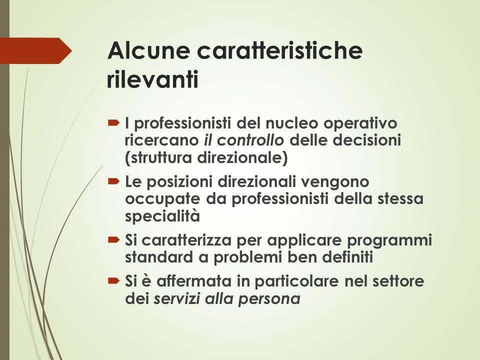 Alcune caratteristiche rilevanti  I professionisti del nucleo operativo ricercano il controllo delle decisioni (struttura direzionale)  Le posizioni