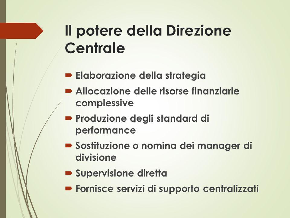 Il potere della Direzione Centrale  Elaborazione della strategia  Allocazione delle risorse finanziarie complessive  Produzione degli standard di p