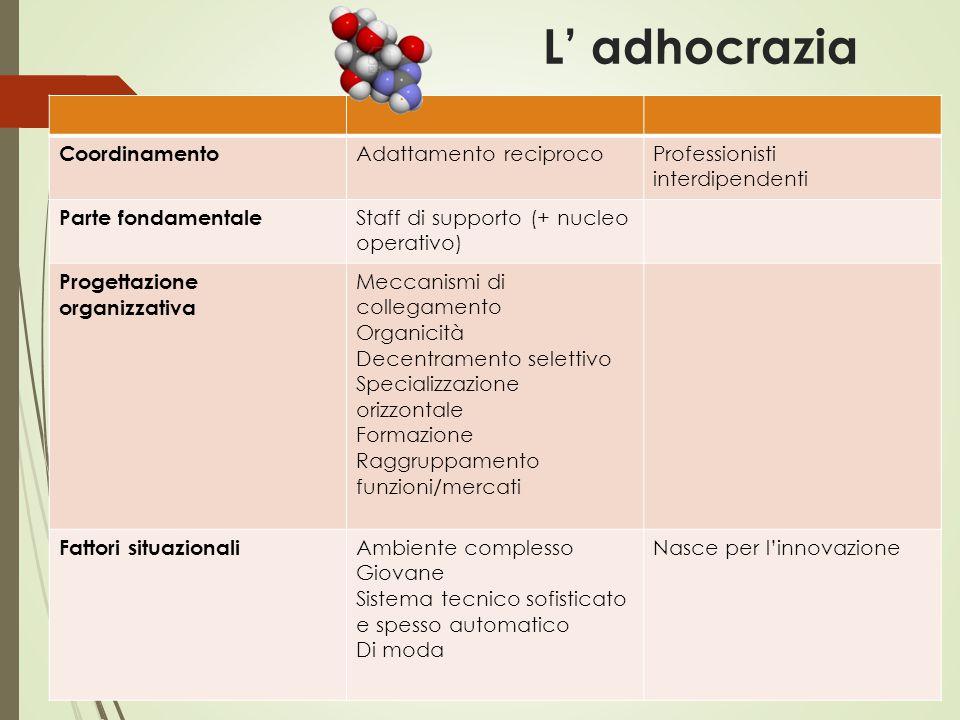 L' adhocrazia Coordinamento Adattamento reciprocoProfessionisti interdipendenti Parte fondamentale Staff di supporto (+ nucleo operativo) Progettazion