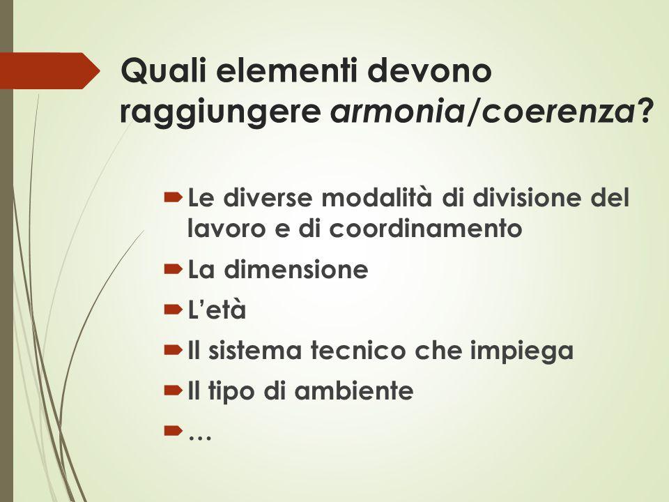 Quali elementi devono raggiungere armonia/coerenza ?  Le diverse modalità di divisione del lavoro e di coordinamento  La dimensione  L'età  Il sis