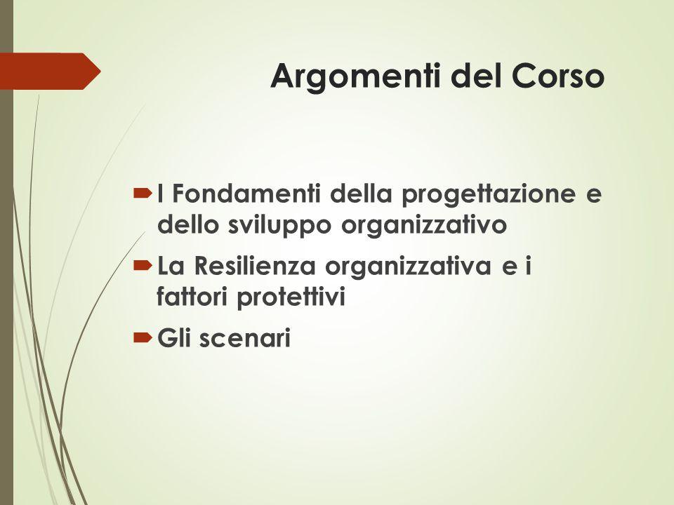 Argomenti del Corso  I Fondamenti della progettazione e dello sviluppo organizzativo  La Resilienza organizzativa e i fattori protettivi  Gli scena