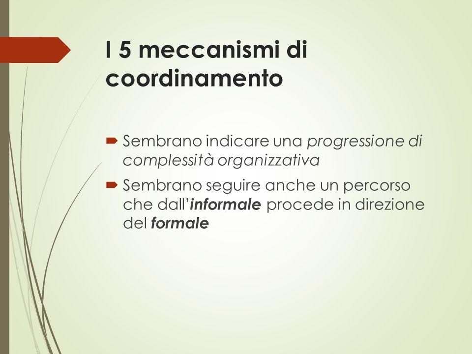 I 5 meccanismi di coordinamento  Sembrano indicare una progressione di complessità organizzativa  Sembrano seguire anche un percorso che dall' infor