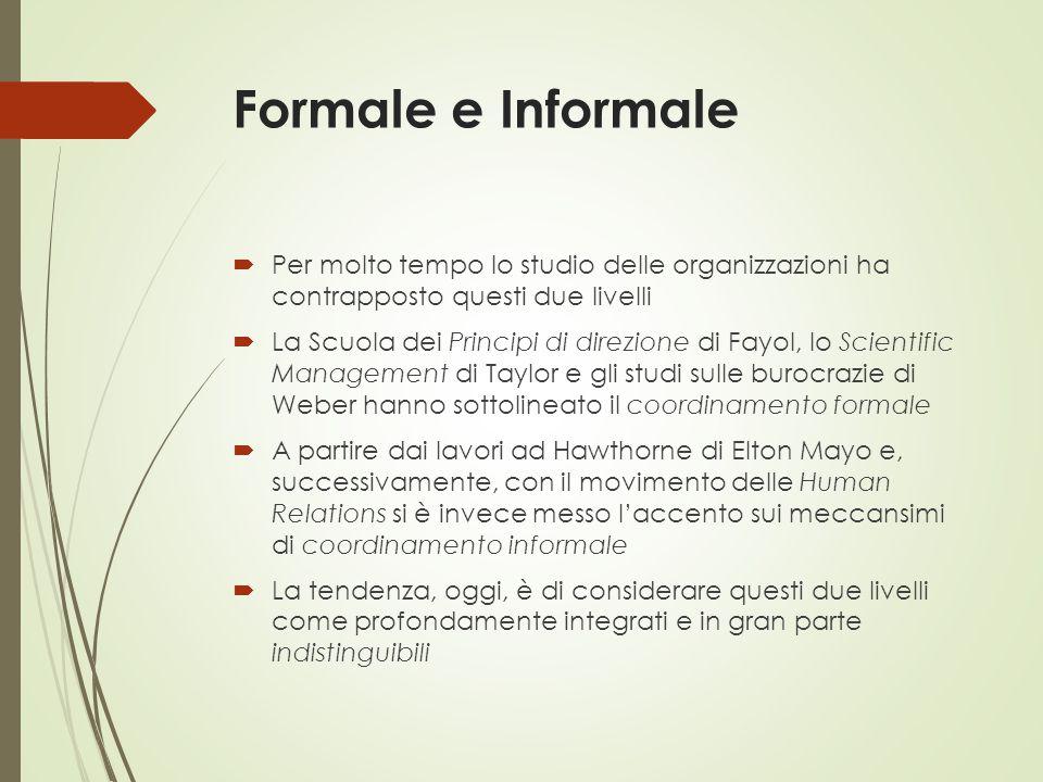 Formale e Informale  Per molto tempo lo studio delle organizzazioni ha contrapposto questi due livelli  La Scuola dei Principi di direzione di Fayol