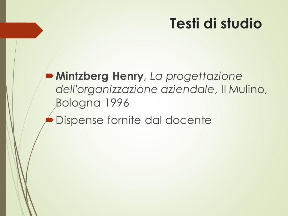 Testi di studio  Mintzberg Henry, La progettazione dell'organizzazione aziendale, Il Mulino, Bologna 1996  Dispense fornite dal docente
