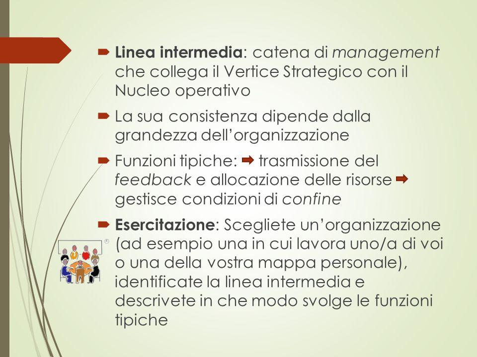  Linea intermedia : catena di management che collega il Vertice Strategico con il Nucleo operativo  La sua consistenza dipende dalla grandezza dell'