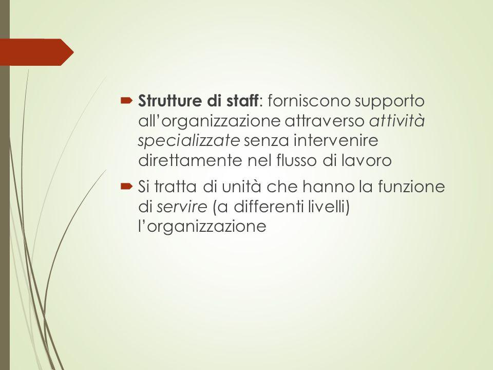  Strutture di staff : forniscono supporto all'organizzazione attraverso attività specializzate senza intervenire direttamente nel flusso di lavoro 