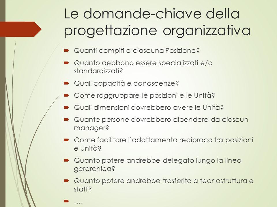Le domande-chiave della progettazione organizzativa  Quanti compiti a ciascuna Posizione?  Quanto debbono essere specializzati e/o standardizzati? 