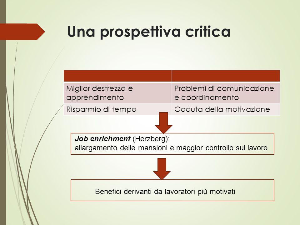 Una prospettiva critica Miglior destrezza e apprendimento Problemi di comunicazione e coordinamento Risparmio di tempoCaduta della motivazione Job enr