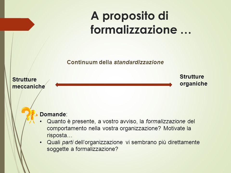 A proposito di formalizzazione … Strutture meccaniche Strutture organiche Domande: Quanto è presente, a vostro avviso, la formalizzazione del comporta