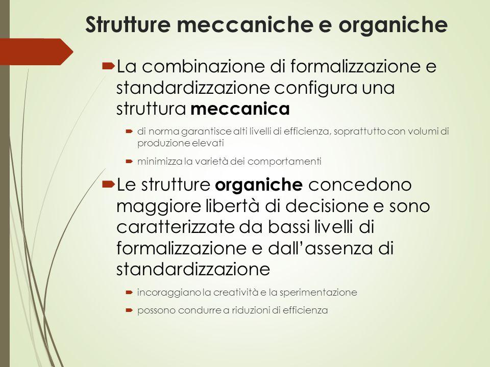 Strutture meccaniche e organiche  La combinazione di formalizzazione e standardizzazione configura una struttura meccanica  di norma garantisce alti