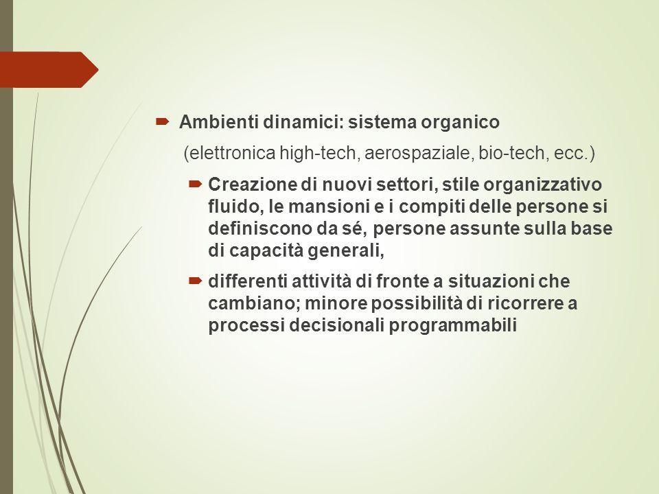  Ambienti dinamici: sistema organico (elettronica high-tech, aerospaziale, bio-tech, ecc.)  Creazione di nuovi settori, stile organizzativo fluido,