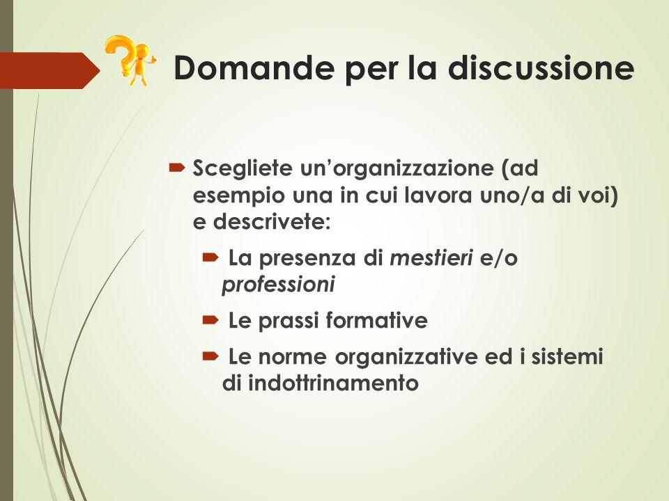 Domande per la discussione  Scegliete un'organizzazione (ad esempio una in cui lavora uno/a di voi) e descrivete:  La presenza di mestieri e/o profe