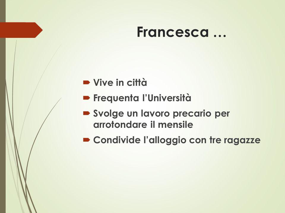 Francesca …  Vive in città  Frequenta l'Università  Svolge un lavoro precario per arrotondare il mensile  Condivide l'alloggio con tre ragazze