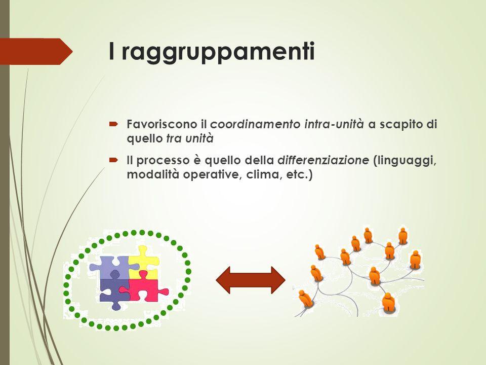 I raggruppamenti  Favoriscono il coordinamento intra-unità a scapito di quello tra unità  Il processo è quello della differenziazione (linguaggi, mo