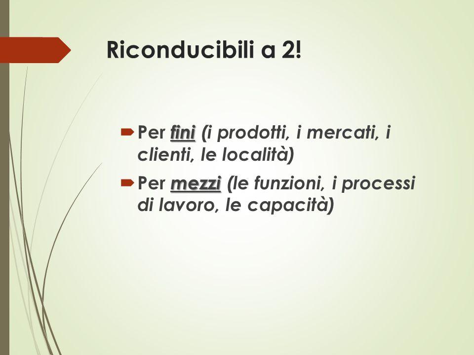 Riconducibili a 2! fini  Per fini (i prodotti, i mercati, i clienti, le località) mezzi  Per mezzi (le funzioni, i processi di lavoro, le capacità)