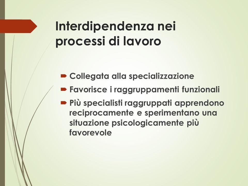 Interdipendenza nei processi di lavoro  Collegata alla specializzazione  Favorisce i raggruppamenti funzionali  Più specialisti raggruppati apprend