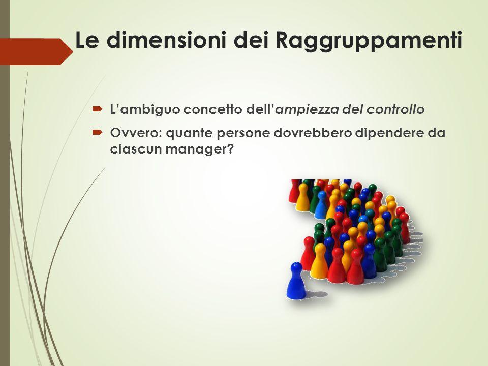 Le dimensioni dei Raggruppamenti  L'ambiguo concetto dell' ampiezza del controllo  Ovvero: quante persone dovrebbero dipendere da ciascun manager?
