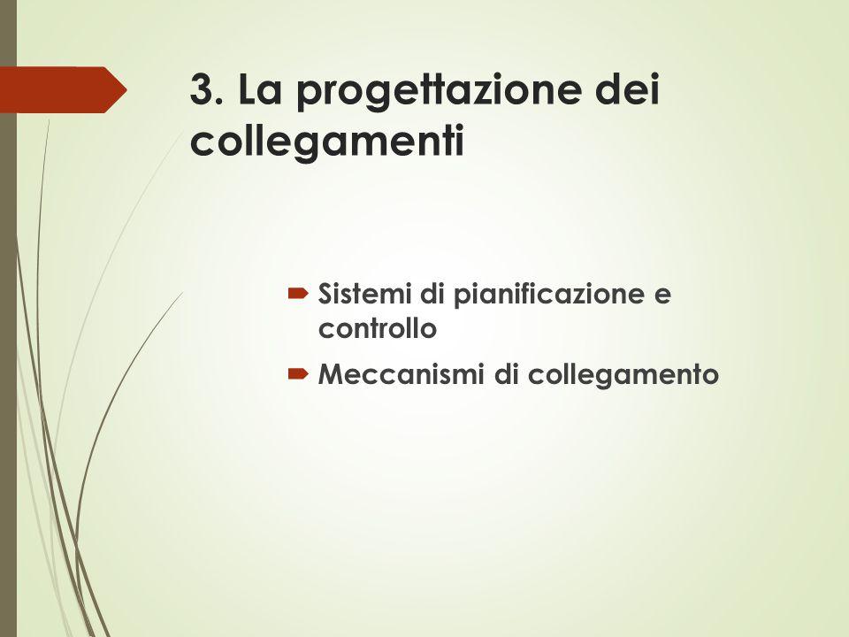 3. La progettazione dei collegamenti  Sistemi di pianificazione e controllo  Meccanismi di collegamento