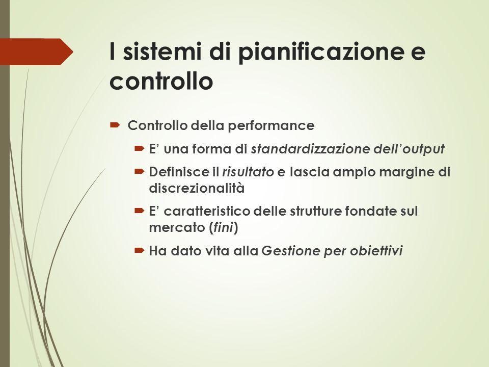 I sistemi di pianificazione e controllo  Controllo della performance  E' una forma di standardizzazione dell'output  Definisce il risultato e lasci