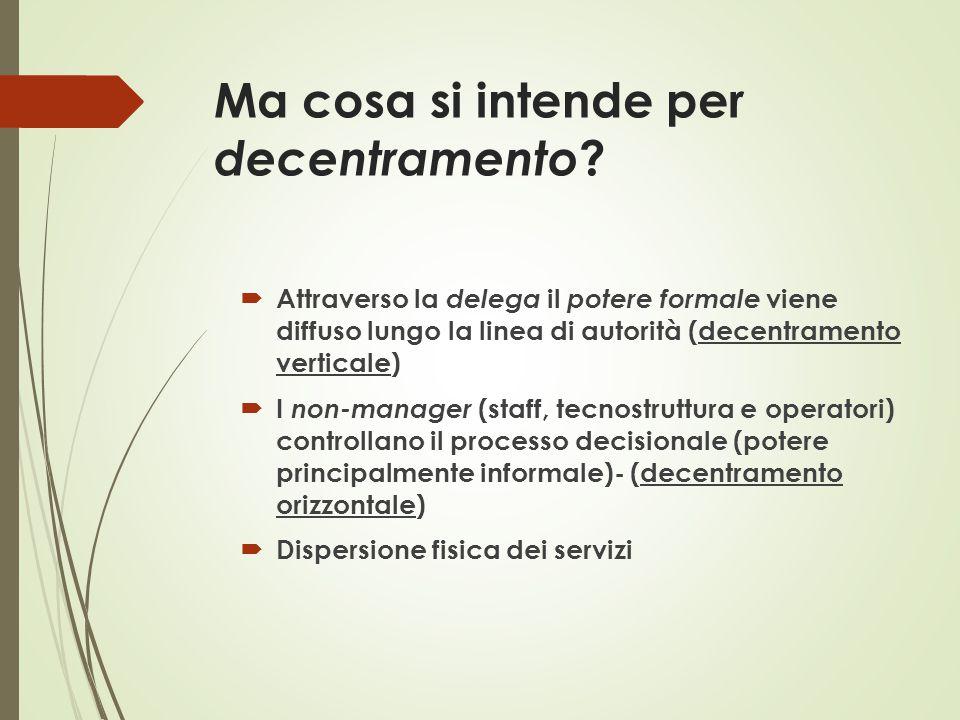 Ma cosa si intende per decentramento ?  Attraverso la delega il potere formale viene diffuso lungo la linea di autorità (decentramento verticale)  I