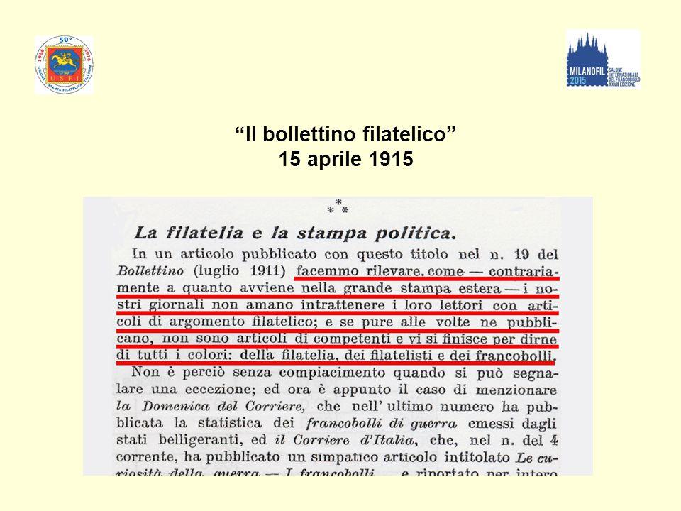 """""""Il bollettino filatelico"""" 15 aprile 1915"""