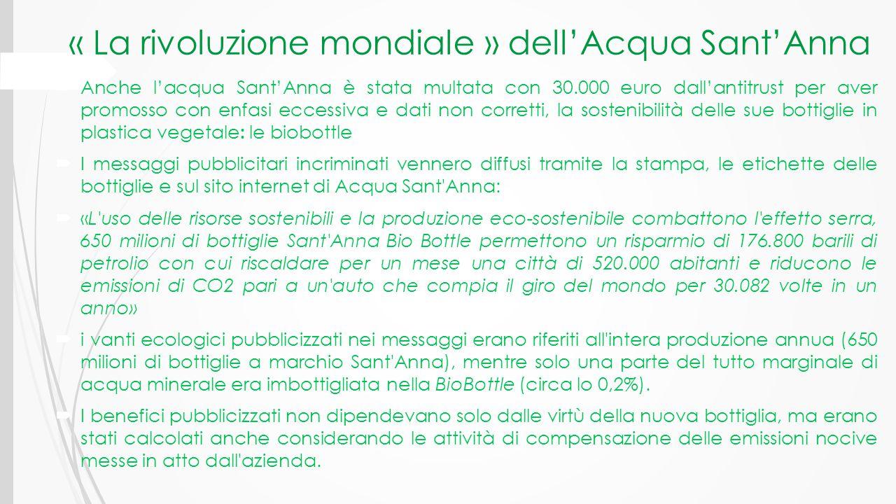 « La rivoluzione mondiale » dell'Acqua Sant'Anna  Anche l'acqua Sant'Anna è stata multata con 30.000 euro dall'antitrust per aver promosso con enfasi