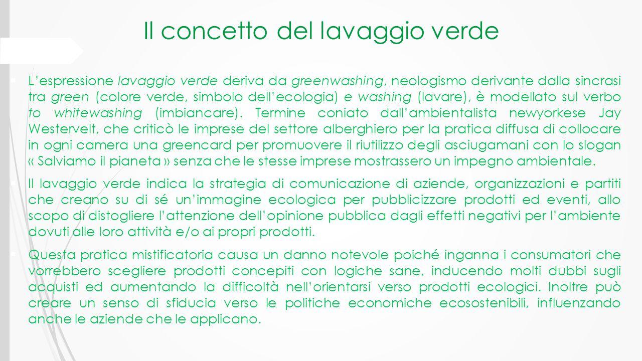 Il concetto del lavaggio verde  L'espressione lavaggio verde deriva da greenwashing, neologismo derivante dalla sincrasi tra green (colore verde, sim