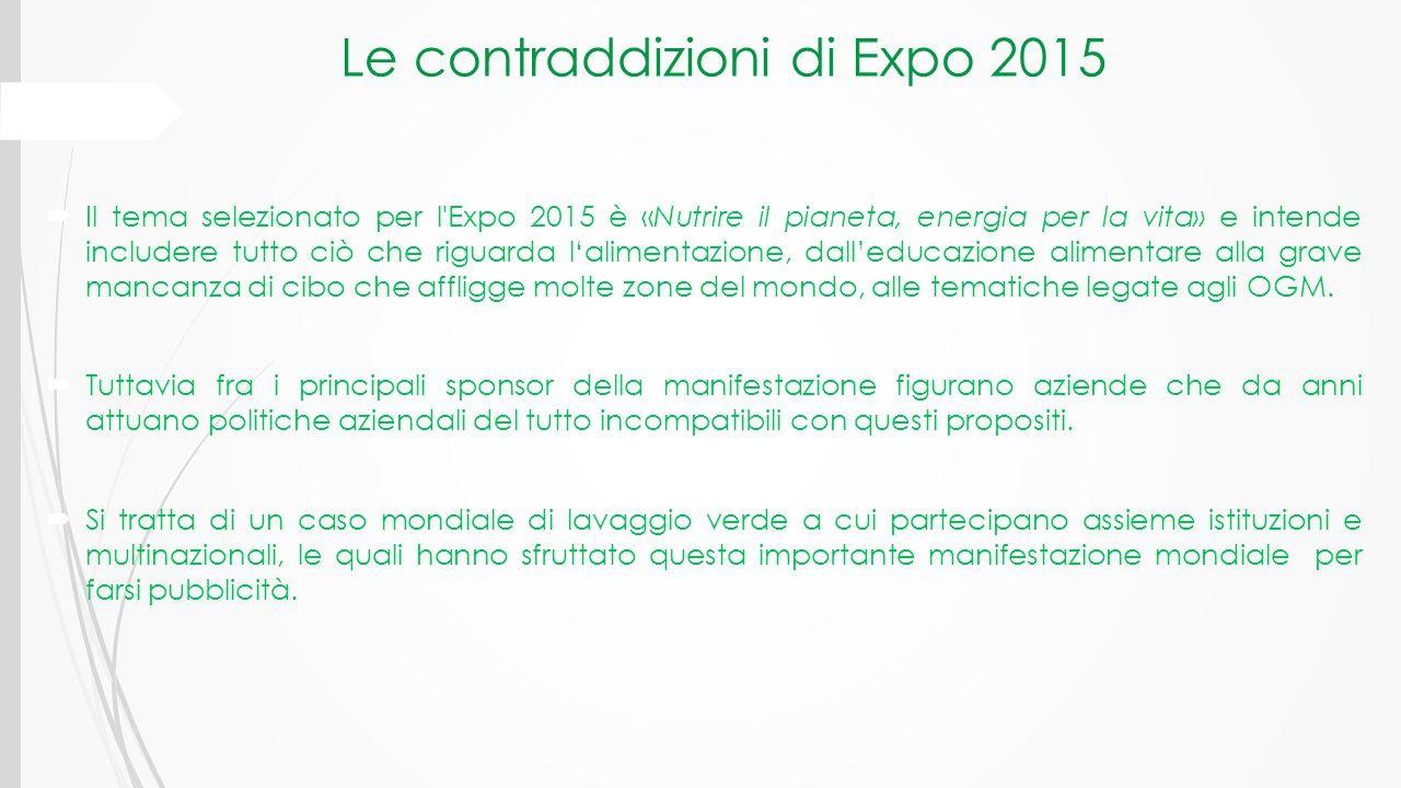 Le contraddizioni di Expo 2015  Il tema selezionato per l'Expo 2015 è «Nutrire il pianeta, energia per la vita» e intende includere tutto ciò che rig