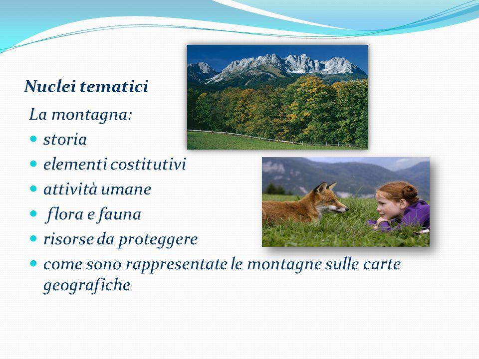 Nuclei tematici La montagna: storia elementi costitutivi attività umane flora e fauna risorse da proteggere come sono rappresentate le montagne sulle carte geografiche