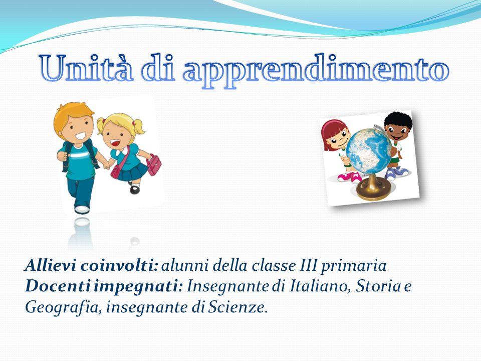 Allievi coinvolti: alunni della classe III primaria Docenti impegnati: Insegnante di Italiano, Storia e Geografia, insegnante di Scienze.