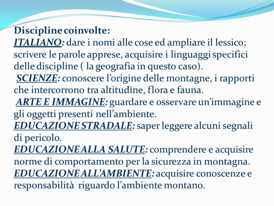 Discipline coinvolte: ITALIANO: dare i nomi alle cose ed ampliare il lessico; scrivere le parole apprese, acquisire i linguaggi specifici delle discipline ( la geografia in questo caso).