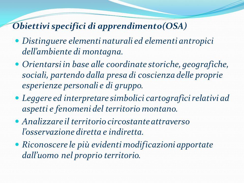 Obiettivi specifici di apprendimento(OSA) Distinguere elementi naturali ed elementi antropici dell'ambiente di montagna. Orientarsi in base alle coord
