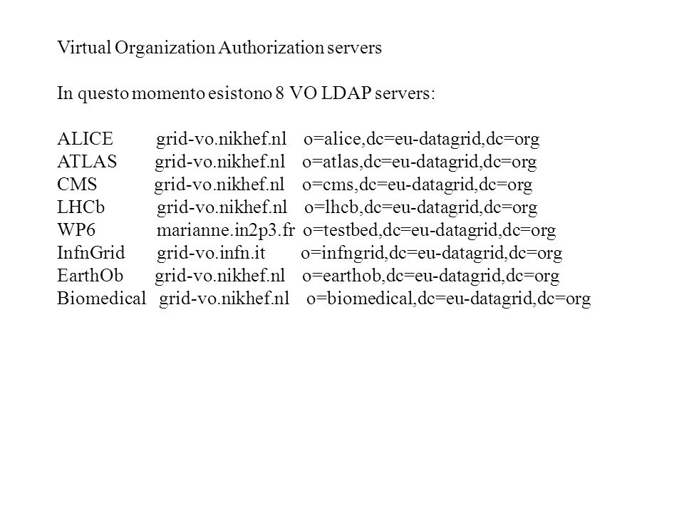 Virtual Organization Authorization servers In questo momento esistono 8 VO LDAP servers: ALICE grid-vo.nikhef.nl o=alice,dc=eu-datagrid,dc=org ATLAS grid-vo.nikhef.nl o=atlas,dc=eu-datagrid,dc=org CMS grid-vo.nikhef.nl o=cms,dc=eu-datagrid,dc=org LHCb grid-vo.nikhef.nl o=lhcb,dc=eu-datagrid,dc=org WP6 marianne.in2p3.fr o=testbed,dc=eu-datagrid,dc=org InfnGrid grid-vo.infn.it o=infngrid,dc=eu-datagrid,dc=org EarthOb grid-vo.nikhef.nl o=earthob,dc=eu-datagrid,dc=org Biomedical grid-vo.nikhef.nl o=biomedical,dc=eu-datagrid,dc=org