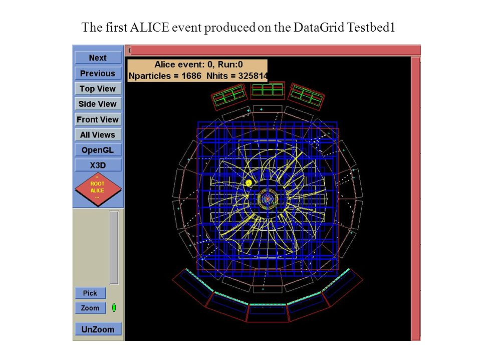 The first ALICE event produced on the DataGrid Testbed1