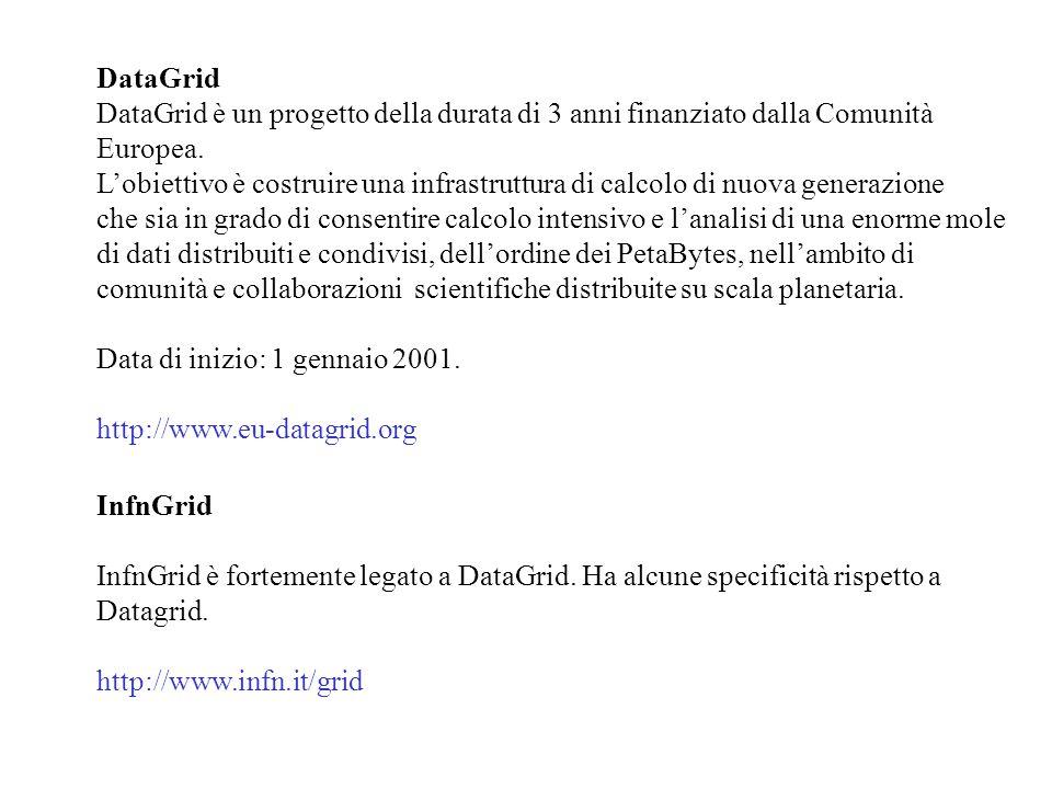 Il progetto DataGrid è strutturato in vari WorkPackages (WP).