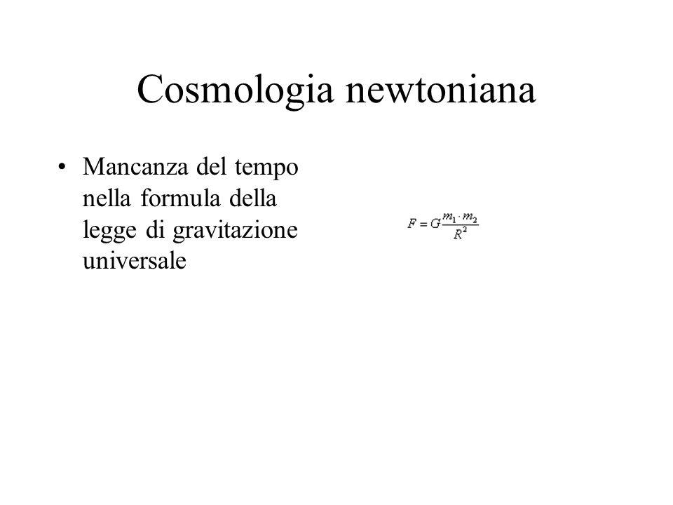Mancanza del tempo nella formula della legge di gravitazione universale Cosmologia newtoniana