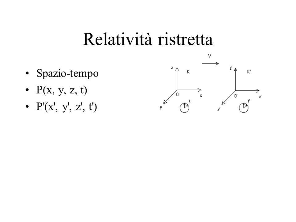 Relatività ristretta Spazio-tempo P(x, y, z, t) P'(x', y', z', t')