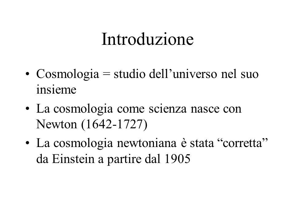 Introduzione Cosmologia = studio dell'universo nel suo insieme La cosmologia come scienza nasce con Newton (1642-1727) La cosmologia newtoniana è stat