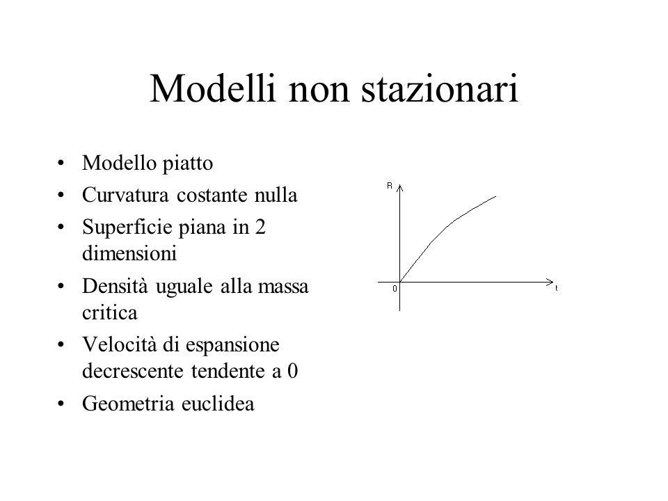 Modelli non stazionari Modello piatto Curvatura costante nulla Superficie piana in 2 dimensioni Densità uguale alla massa critica Velocità di espansio