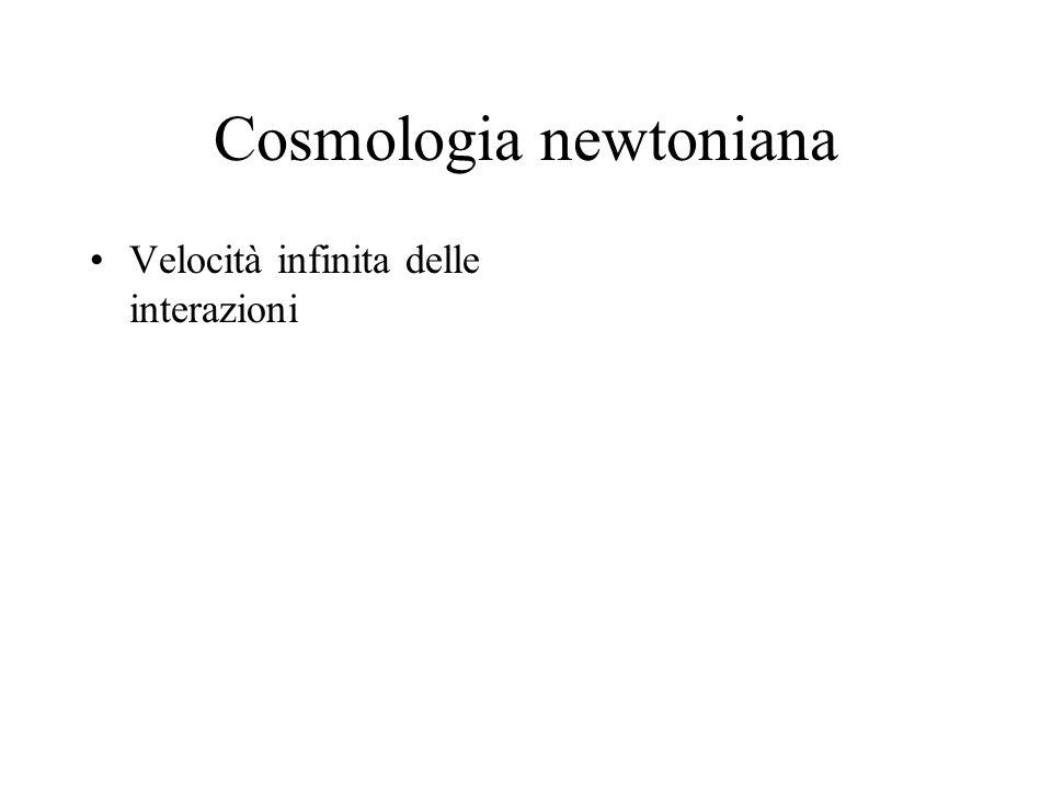 Cosmologia newtoniana Velocità infinita delle interazioni