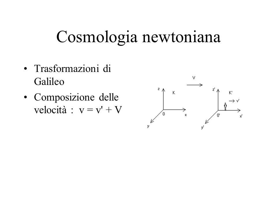 Cosmologia newtoniana Trasformazioni di Galileo Composizione delle velocità : v = v' + V