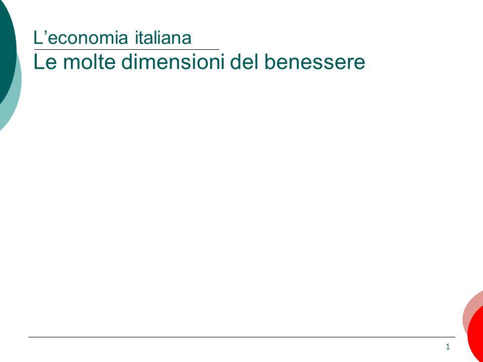 1 L'economia italiana Le molte dimensioni del benessere