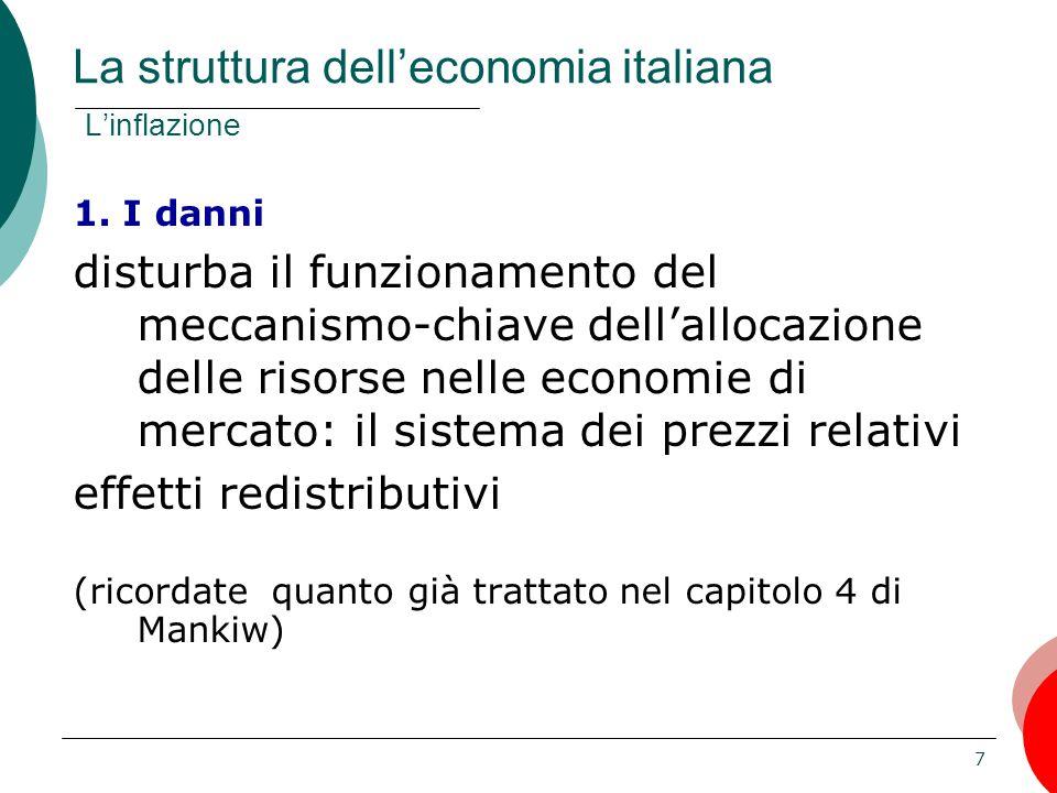 7 1. I danni disturba il funzionamento del meccanismo-chiave dell'allocazione delle risorse nelle economie di mercato: il sistema dei prezzi relativi