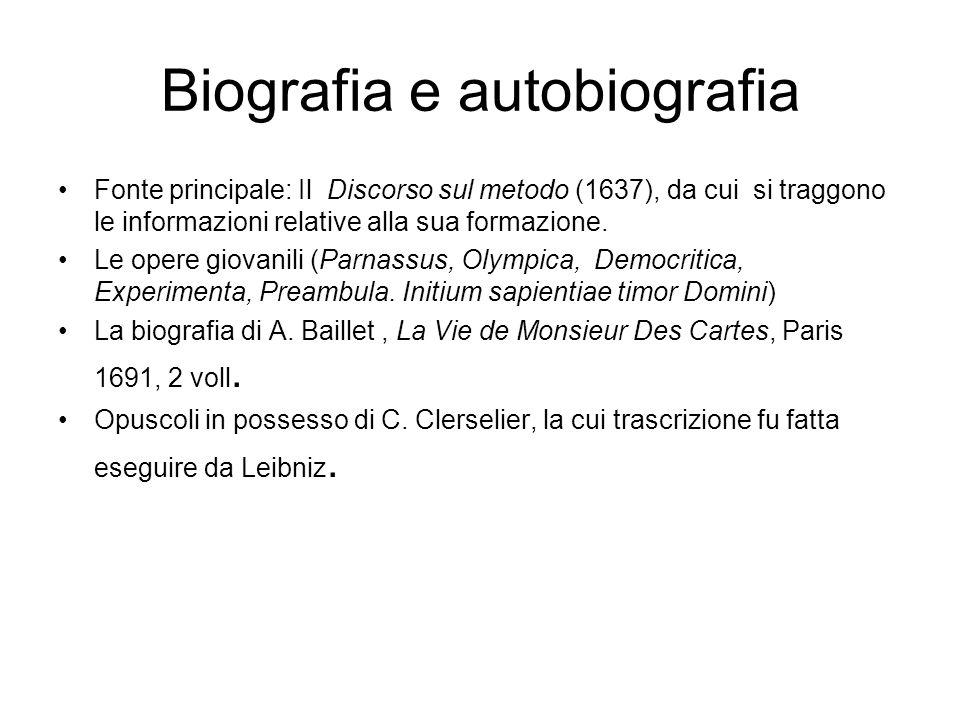 Biografia e autobiografia Fonte principale: Il Discorso sul metodo (1637), da cui si traggono le informazioni relative alla sua formazione.