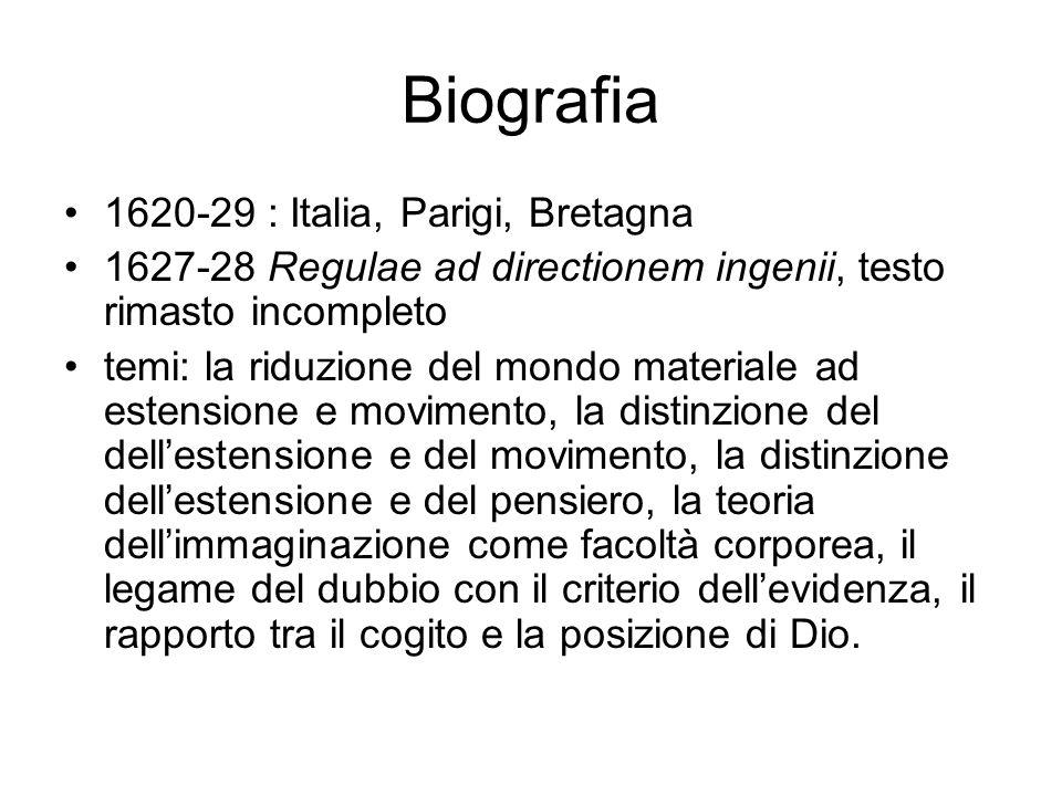 Biografia 1620-29 : Italia, Parigi, Bretagna 1627-28 Regulae ad directionem ingenii, testo rimasto incompleto temi: la riduzione del mondo materiale a