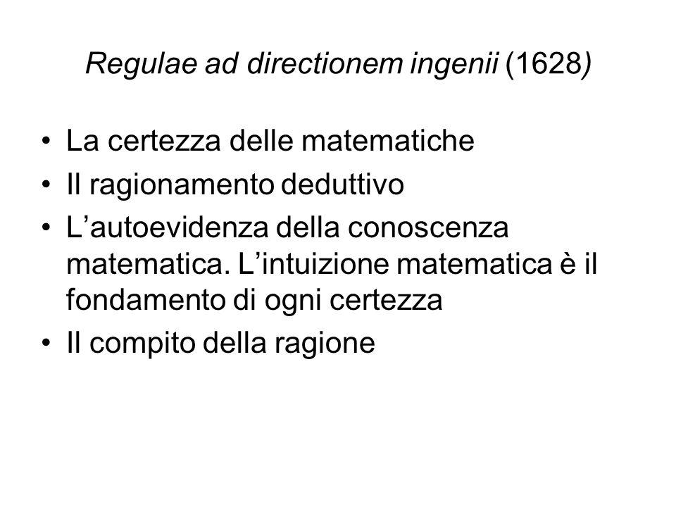 Regulae ad directionem ingenii (1628) La certezza delle matematiche Il ragionamento deduttivo L'autoevidenza della conoscenza matematica.