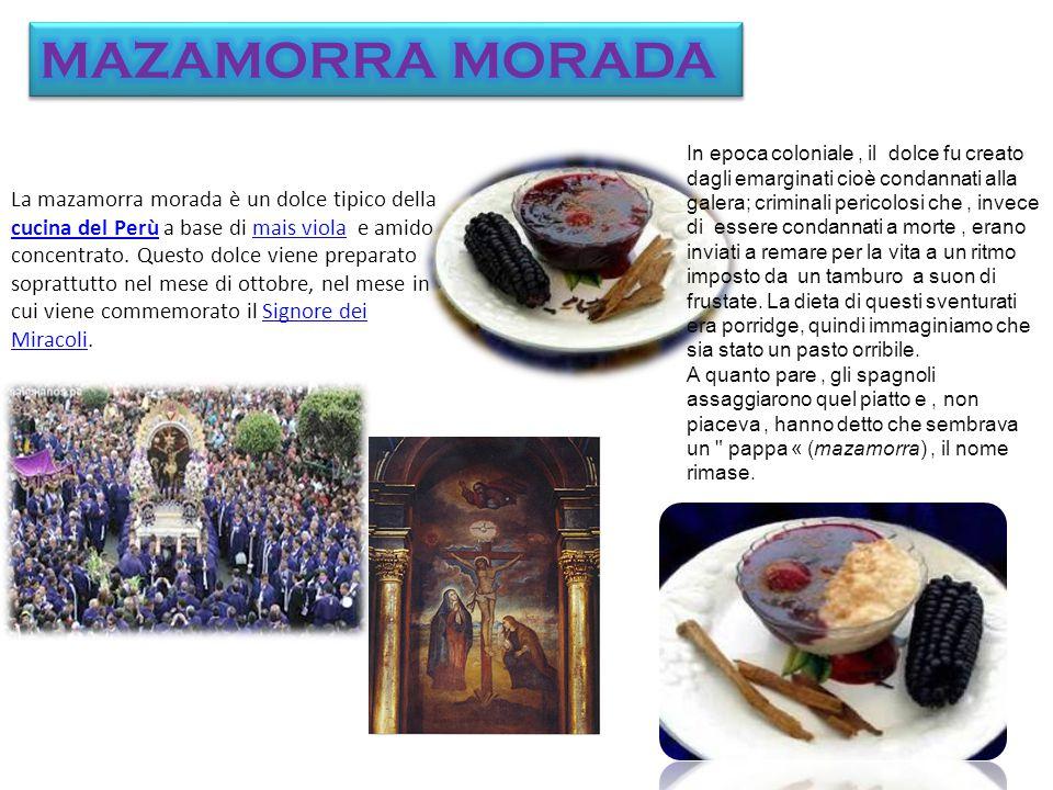 La mazamorra morada è un dolce tipico della cucina del Perù a base di mais viola e amido concentrato.