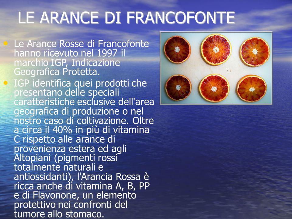 LE ARANCE DI FRANCOFONTE Le Arance Rosse di Francofonte hanno ricevuto nel 1997 il marchio IGP, Indicazione Geografica Protetta.
